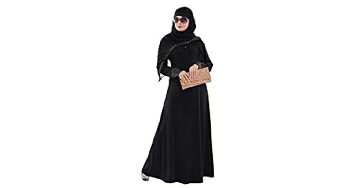 Burka, Women's Ready to Wear-Instant Velvet Embosed Lycra Abaya Burka