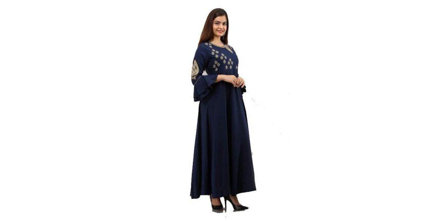 Golden Zari Work Dress Rayon Gown Navy Blue,