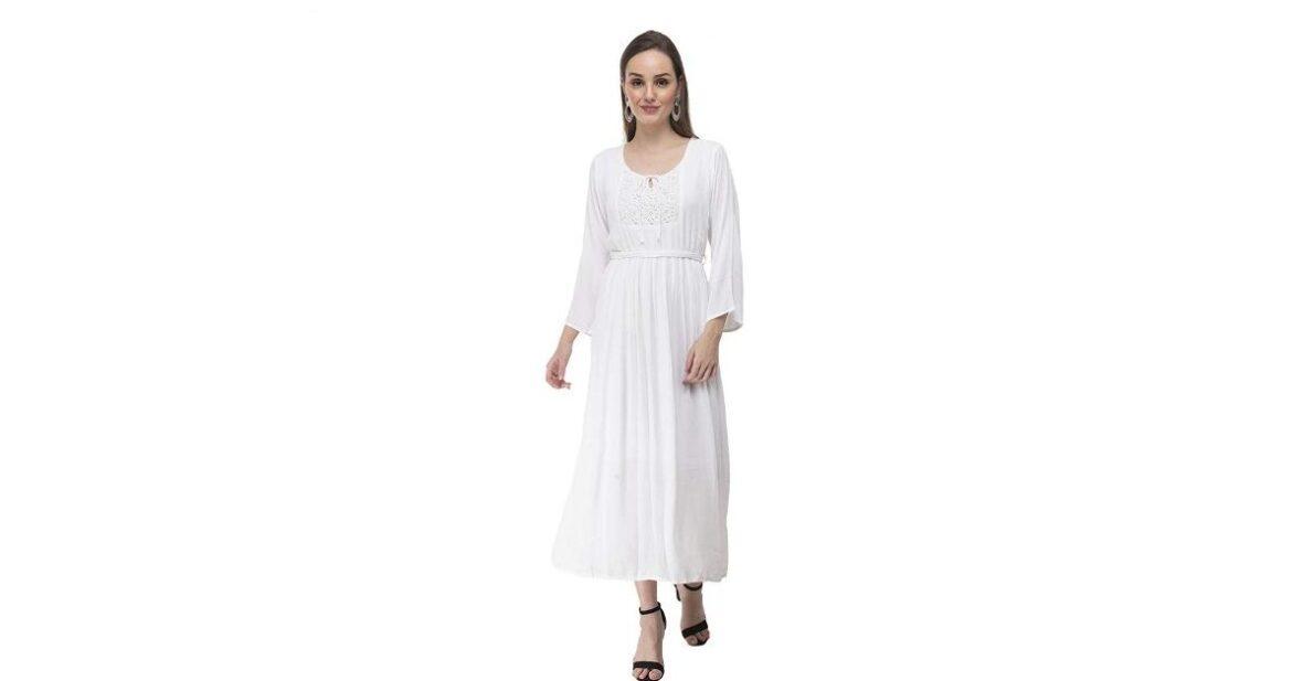 Pleated Tie Waist Dress Myra-Syra With Lace Yoke, one piece dress