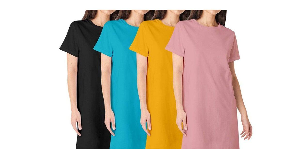Premium Womens Plain Knee Length Cotton Round Neck Half Sleeves Combo Pack of 4 Multicolour Tshirts. Knee Long, Three Fourth Tshirts