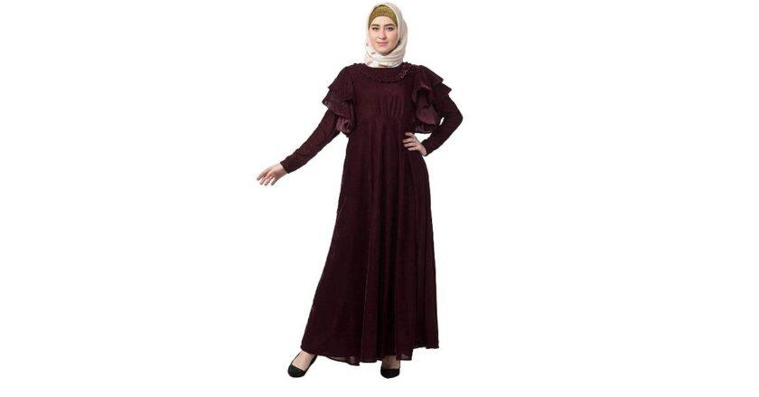 Traditional Women's Bridal Abaya Dress with Side Pocket
